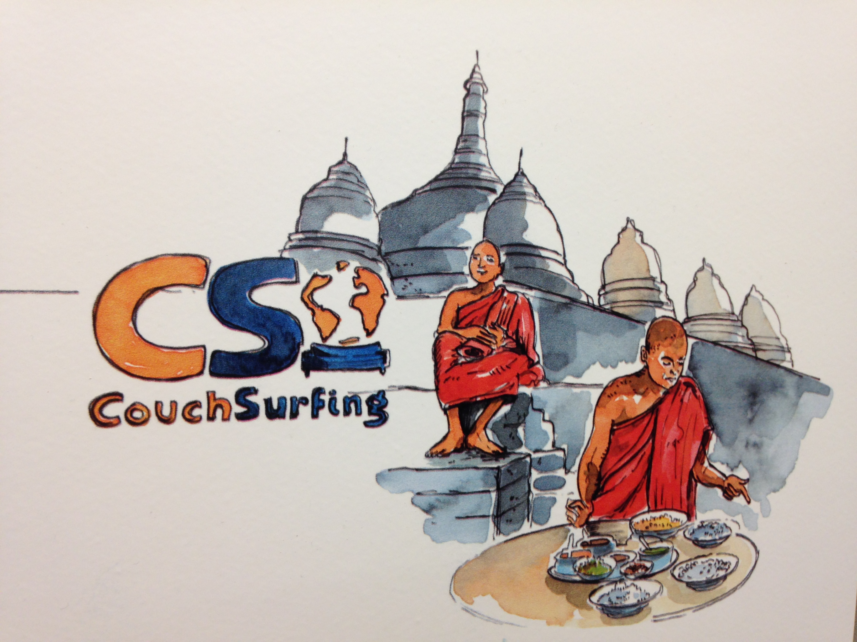 monks couchsurfing